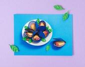 MUSSELS POSTCARD / Snail Mail, Stationery, Postal, Mini Art Print, Cooking, Kitchen Art, Paper Food, Paper Art, Original Art by LULO