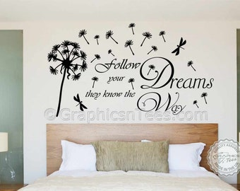 Inspirational Quote, Follow Your Dreams, with Dandelion Blowing in Wind, Dragonfly, Home Wall Art Decal