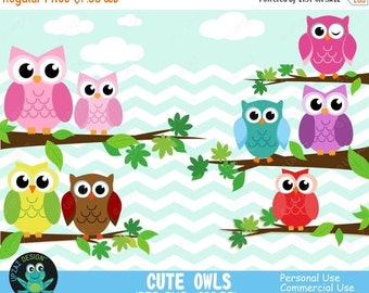 75% OFF SALE Owl Clipart, Commercial Use, Digital Clip Art, Owls Clipart, Digital Images - UZ633