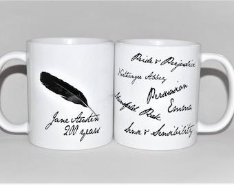 Jane Austen books mug 200th Anniversary gift for her Mother's Day gift Pride and Prejudice mug Jane Austen gift literary gift for her