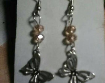 Artesian Tabetan Silver Butterfly w/ Champagne Crystal Dangle earrings, Hypo-allergenic hooks, Handmade only one pair made