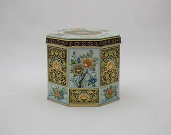 Vintage Dahr Tin - Chocolate Brown and Blue Floral Design Metal Tin