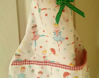 Child's cooking apron, child's reversible cotton apron, ballerina apron, handmade small apron, kids apron, red gingham apron, toddler apron