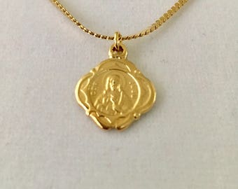 "Vintage Sacred Heart necklace, small gold overlay religious pendant, 5/8"" medallion, layering pendant necklace"