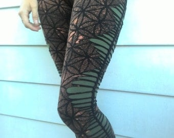 cut and tied flower of life leggings