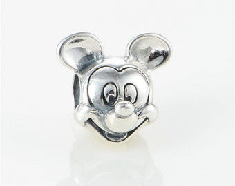 Disney MICKEY MOUSE PORTRAIT Charm / New / Sterling Silver / Threaded / Fully Stamped