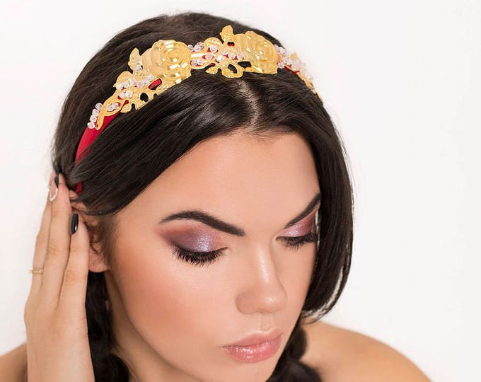 Gold Rose Crown Gold Roses Tiara flamenco costume Headband Dolce Style gift for girl Baroque Crown Fascinator Spanish Style Wedding Bride