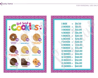 2018 Girl Scout Cookie lanyard (Version with and without Trios) - Printable