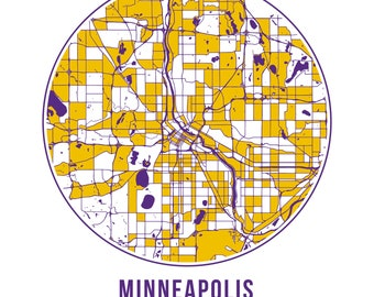 Minneapolis Football - Community Color Map - Poster Print Wall Art- Neighborhood Fan
