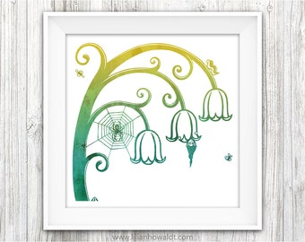 Lilly Of The Valley | Square Art Print | Illustration | Modern Wall Art | Children's Room Wall Decor