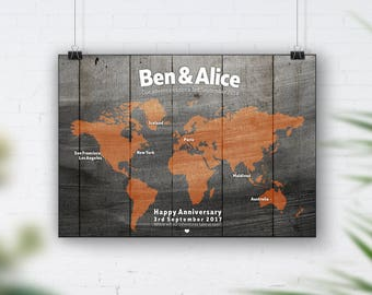 Copper World Map, Travel Bucket List, Personalised Travel Map, 1st Wedding Anniversary Gift, 40th Birthday, Places We've Been, Wood Wall Art