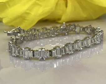 Simulated Diamond Baguette Tennis Bracelet 14K White Gold 8.00 CTW #4899