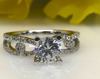 Moissanite Forever One Round Engagement Ring With Diamond Split Shank Band 1.50ctw. 14K White Gold #221