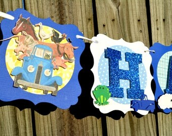 Little Blue Truck Banner, Little Blue Truck Happy Birthday Banner, Little Blue Truck, Farm Banner, Little Blue Truck Birthday Banner