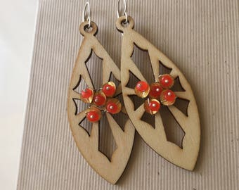 Orange Jade on Wooden charm sterling Earrings- Handmade, semiprecious,mother's day,holidays,
