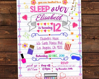 Printable Slumber Party Invitation - Notebook Doodle - Slumber invitation - Sleepover invitation - Sleepover party . Editable PDF #DPI1299