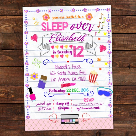 cute sleepover invitations printable