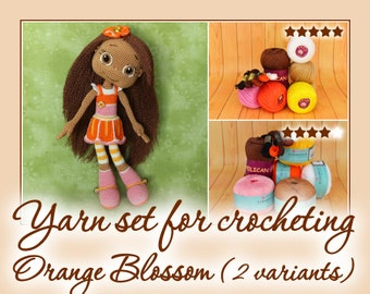 Yarn set for crocheting Orange Blossom