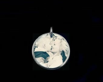 CHARM OF ENDEARMENT, silver disc charm, photo charm, photographic jewellery