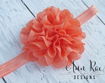 Coral Baby Headband, Newborn Headband, Infant Headband, Coral Headband, Baby Girl Headband For Girls Flower Headband For Babies, Baby Bows