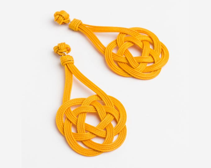 Ocean Plait Knot Earrings, Sz Lrg, Macrame earring, macrame, love knot earring, chinese knot, paracord earring, sailor's knot, nautical knot
