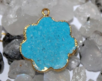 1 Pc Turquoise Flower Pendant with 24k Gold Electroplated Edges- Gold Plated Turquoise Flower Pendant - Single Loop Pendant HL20