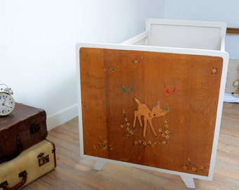 Upcycled vintage child bed, bambi decoration, 50's-60's, French vintage