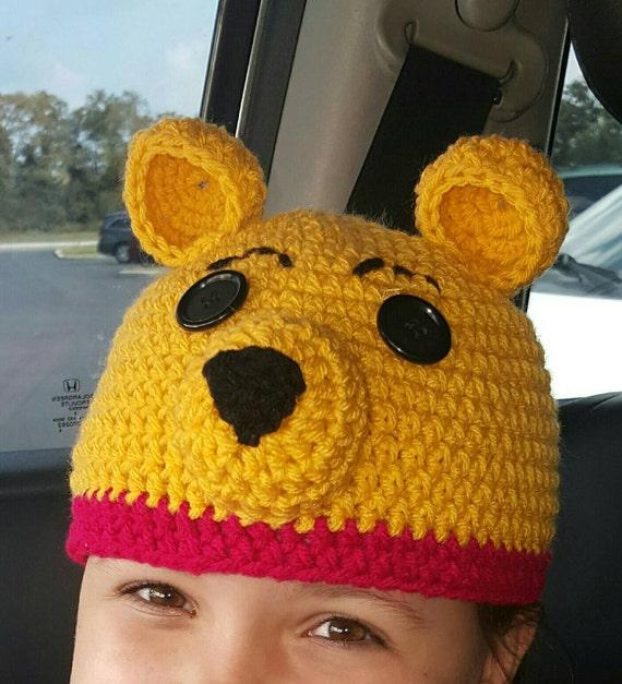 Crochet Pooh Bear Hat Pattern : Winnie the Pooh crochet Hat Pooh Bear crochet hat bear