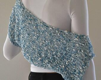 bolero , knit shrug, coverup party dress, versatile garment , loose knit , wedding knit shrug,  special yarn, luxurious thread, italian yarn