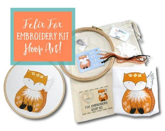 Felix Fox Modern Embroidery Kit, a cute piece of Hoop Art and a great beginner Embroidery Kit. Easy Hand Embroidery Pattern for DIY Crafters