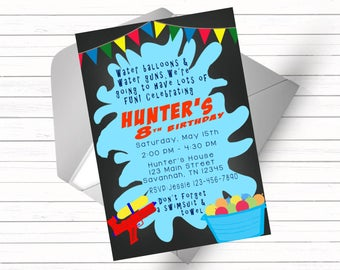 Water Balloon & Water Gun Splash Party Invitation