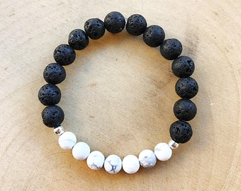 Lava Howlite Bead Bracelet, Aromatherapy Jewelry,  Essential Oil Diffuser,Healing Crystal, Stretch Bracelet, Natural Stone, Bohemian Style