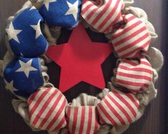 Patriotic Wreath w/ Large Star