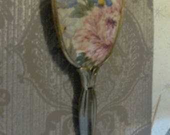 Vintage Floral Design Gold-toned Vanity Hairbrush