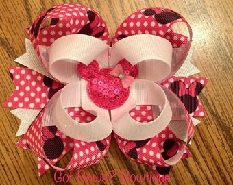 Minnie Mouse Stacked Boutique Bow