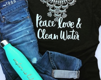 Peace Love & Clean Water Women's Triblend Scoop