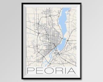 PEORIA Illinois Map, Peoria City Map Print, Peoria Map Poster, Peoria Wall Map Art, Peoria gift, Custom city maps, Bradley University
