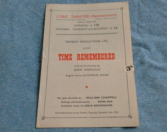Theatre programme Lyric theatre hammersmith Time Remembered