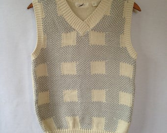 1980s cream and blue knit vest by ESPRIT size L
