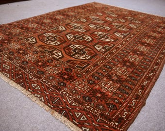Antique Bokhara Rug 4.9 X 3.4 Ft / 150 X 104 Cm Bohemian Tribal Nomadic  Turkoman