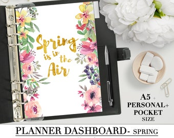 """Printable DASHBOARD for your Pocket, Personal and A5 Planner_""""Spring is in the air""""_season divider_ filofax organizer_watercolor flowers"""