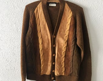 Vintage Wool Brown Cable Knit Faux Suede 1960's Mens Cardigan Sweater by Le Chevron