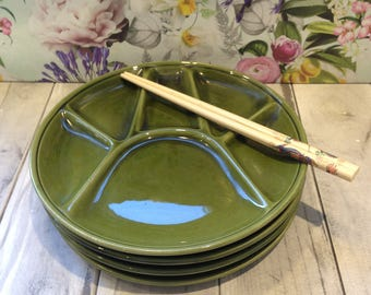 Green French Set Of Four Retro Divided Plates For Fondue, Sushi or Appetizers