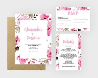 Floral Wedding Invitation Suite | Boho Wedding | Invitation Set | Wedding Suite | Printable Invitation Set | Floral Wedding | Wedding Invite