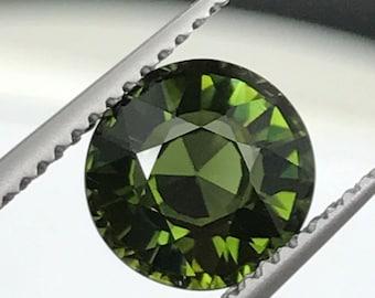 Rich green Tourmaline round, 2.22ct 8mm, natural untreated.