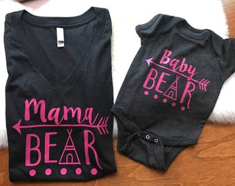 Mama bear baby bear, baby girl, mama bear, baby bear, matching mom and baby