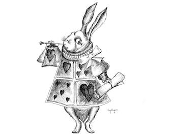 White Rabbit Illustration Art Print - Pen and Ink Alice in Wonderland Design, Traditional Art