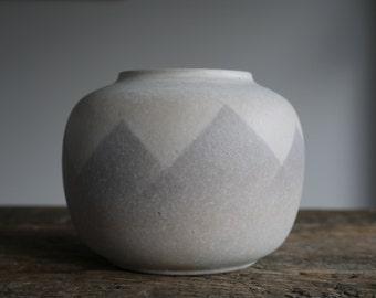 West German VEB Haldensleben Pottery Vase White and grey design- Vintage