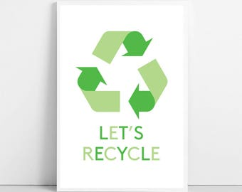 Items similar to recycling print keep calm and recycle on for Recycle stencil printable