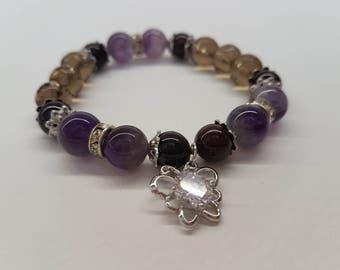 Crystal butterfly bracelet, Purple bracelet, Gemstone bracelet, Amethyst bracelet, Women bracelet, Charm Bracelet, Fashion bracelet